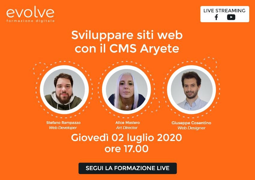 Evolve in streaming: sviluppare siti web con il CMS Aryete